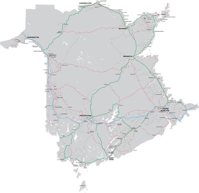 Carte Canada Nouveau Brunswick.Carte Routiere Du Nouveau Brunswick Ministere Des