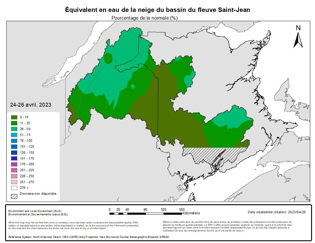 Equivalent en eau de la neige du bassin du fleuve Saint-Jean